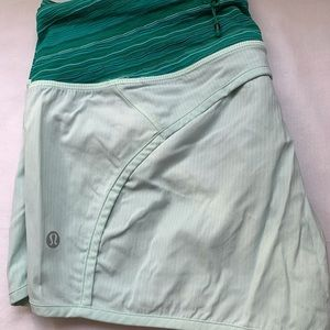 Size 6, LuluLemon, mint and green speed shorts.